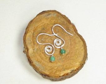 small silver earrings, turquoise earrings, simple earrings, spiral jewelry