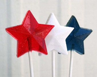 Red, White and Blue Patriotic Stars Wedding Favors - 75 Lollipop Pack - Hard Candy Gems - 4th of July Favors, Patriotic Wedding Favors