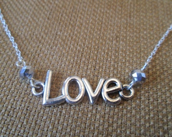 SALE 20% OFF- Sterling Silver Love Swarovski Necklace by The Darling Duck
