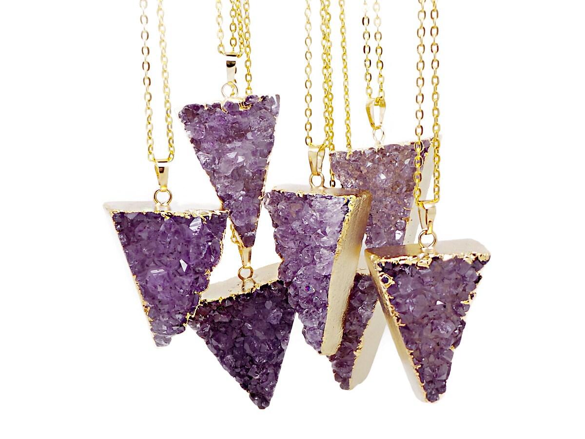Triangle Amethyst Druzy Pendant Necklace Amethyst Necklace