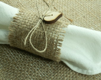 Rustic Style Rustic 100  Burlap Napkin Rings with Buttons and Twine ,  Wedding Decor ,  Country Wedding