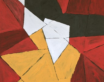 red abstract painting original yellow black modern midcentury art acrylic on canvas