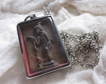 Thai Buddhist Blessed Medallion Clay Amulet Silver Plated Necklace, Buddha,