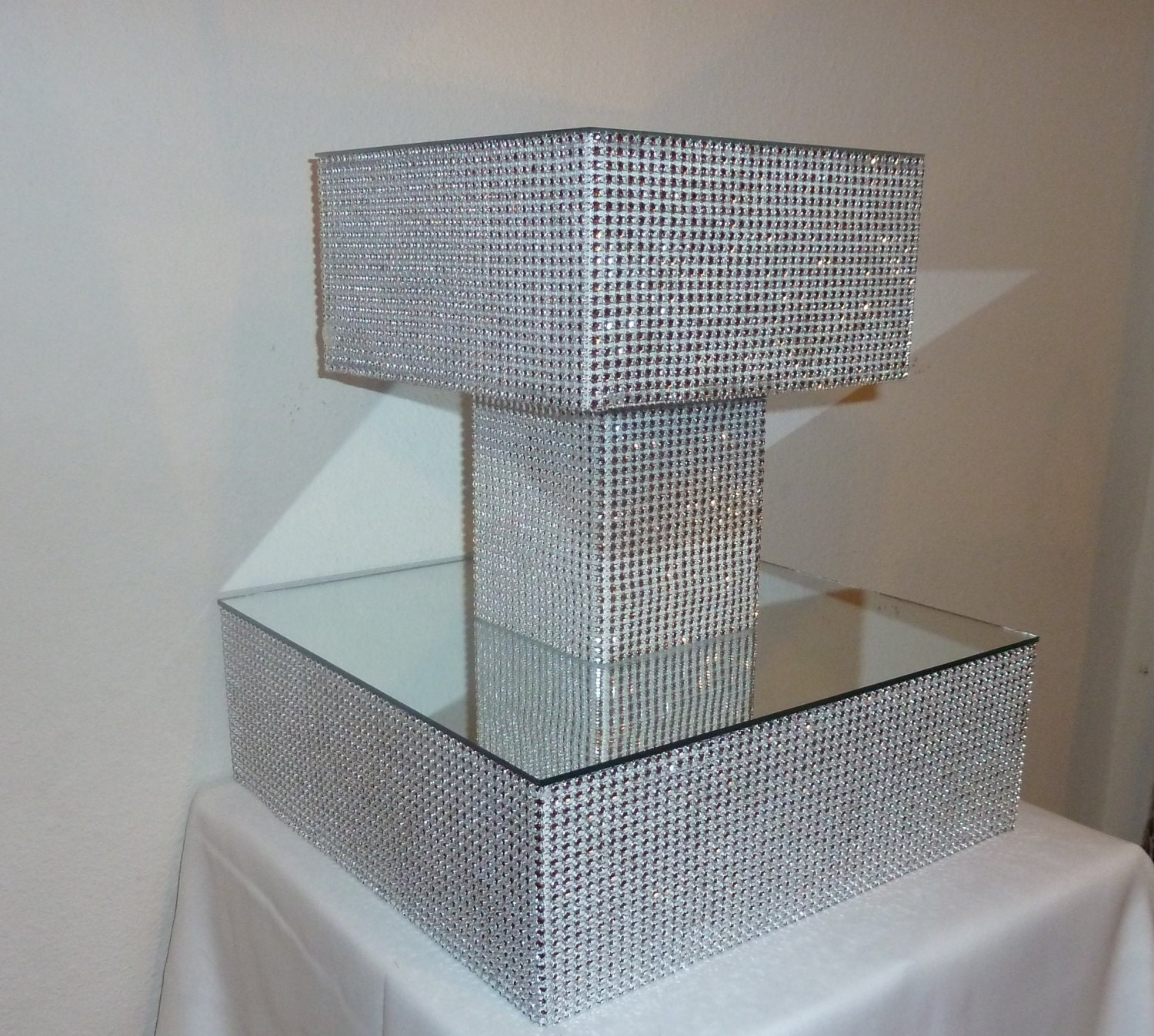 2 tier silver faux rhinestone wedding cake stand cupcake tower