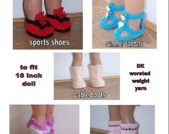 Doll Shoes PDF knitting pattern for 18 to 19 inch dolls, American Girl,Gotz, Our Generation and similar size dolls, 5 pairs, boots and shoes