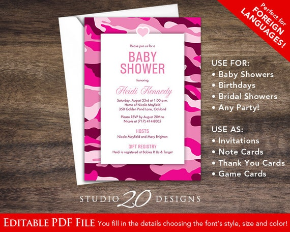 instant download hot pink camo baby shower invitations, Baby shower