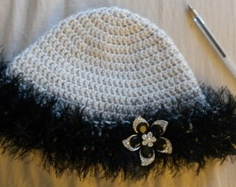 Fun Black and Gray Fuzzy Hat