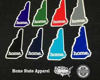 New Hampshire Home. Colored Vinyl Sticker