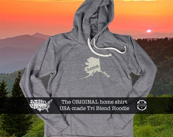 Tri Blend Pull Over Hoodie Alaska Home Sweatshirt