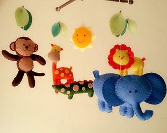 "Baby crib mobile, safari mobile, animal mobile, felt mobile ""Let's go to the Zoo 7"" - Elephant, Lion, Giraffe, Monkey, Alligator"
