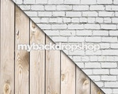 Combo - Two 2ft x 2ft  Vinyl or Poly Photography Backdrop and Floor Drop - White Brick Wall / White Wood - Items 1444 & 157