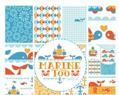 Fat Quarter Bundle from the Marine Too collection GOTS certfied ORGANIC by Birch Fabrics