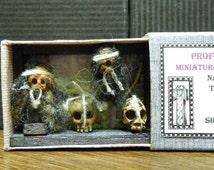 OOAK Handmade Miniature Oddities Shrunken Head Trophy Skull Display Creepy Scary Cute Matchbox Art