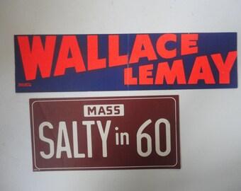 Election Souvenir, Two Vintage Bumper Stickers, Saltonstall and Wallace, 60s Politics Memorabilia, Campaign Souvenirs, Collectible Ephemera
