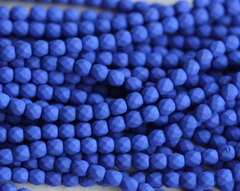 50 Neon Blue, 3mm Faceted Round Czech Glass Fire Polished Beads FP-3M-8