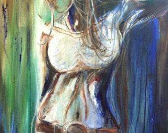 Blue cowgirl art print 8x10 Copy