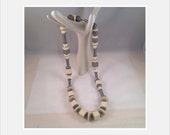 Necklace Necklace Vintage String Cream or White and Gray Beads of Various Shapes and Metal Accents Brass Clasp