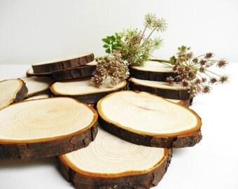 """3""""-4"""" Wood Slices, Tree Slices,Tree Slice, Wood Blanks,Ornaments, Coasters, Bark Wood, Wood Slice, Woodland Wedding, B15"""