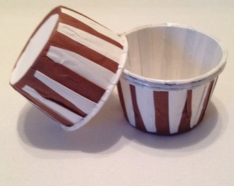 Chocolate Brown Stripe Snack Cups
