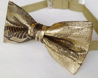 Unique gold bow tie. Limited Edition Bow Tie. Mens Shimmering Vintage Bowtie handmade