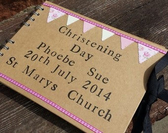 Personalised Christening Guest Book/Photo Album - Pink or Blue Option