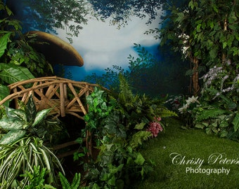 Bridge Over Water in Enchanted Forest Digital Background for Photographers