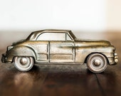Vintage Banthrico 1946 Chrysler Town and Country Car Coin Bank Brass Cast Iron Copyright 1974 Old Vehicle Collector Home Decor Childs Toy