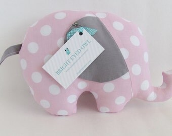 Gray and Pink Polka Dot Stuffed Elephant Baby Toy Pillow, Nursery Pillow Decor, Photography Prop