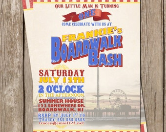 Boardwalk Bash Party Invitation - Digital File - PRINT IT YOURSELF