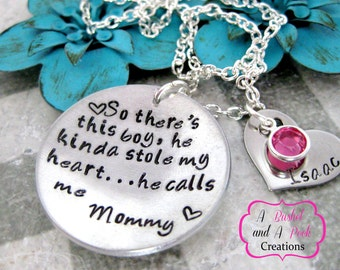 Personalized Hand stamped So there's this Boy/Girl/Kids necklace with birthstones