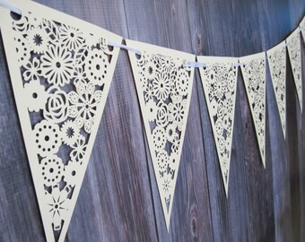 Cream Paper Flower Lace Triangle Banner Pennant Garland Bunting Photo Prop Love Family Party reusable banner