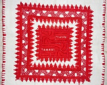 Traditional hand made Hungarian embroidered red centerpiece
