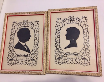 Beautiful Pair of 1950's Silhouettes Man Woman Wedding Gift