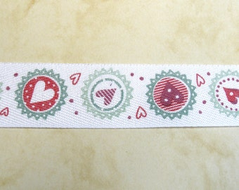"""1 m printed   Ribbon """"Hearts and Circles"""" 25 mm w."""