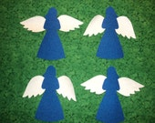 """4 Angels with Wings Applique Shapes.  Fusible (Iron On)6""""wide x 6 3/4"""" high.  Blue w/silver sparkle fabric wings."""