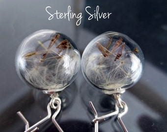 Sterling mini Dandelion earrings: silver glass orb Seeds jewelry Botanical Dry Real flowers Weddings Bridesmaids gift