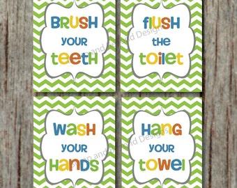 Kids Bathroom Decor Bathroom Wall Art Wash your hands Brush your teeth Instant download Printable Children's Bathroom Decor Green Chevron 23
