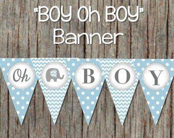 Boy oh Boy Printable Baby Shower Banner Powder Blue Grey Elephant INSTANT DOWNLOAD DIY Baby Shower Decorations 065