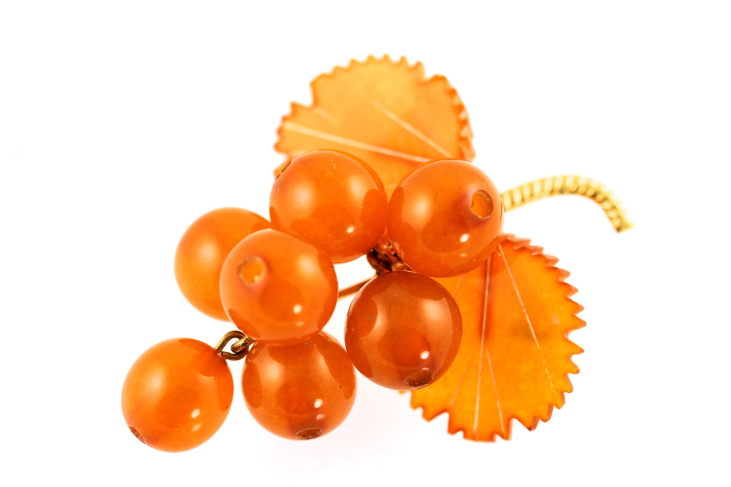 Amber Leaf Berries Or Grapes Brooch By Yourgreatfinds On