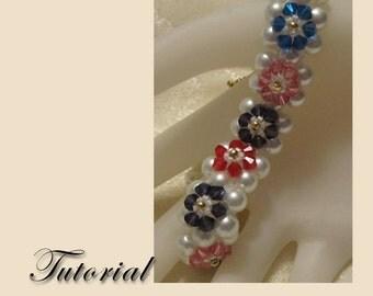 PDF for Brenna's Garden Bracelet Right Angle Weave beadwoven beading pattern tutorial - beadweaving beaded seed bead jewelry