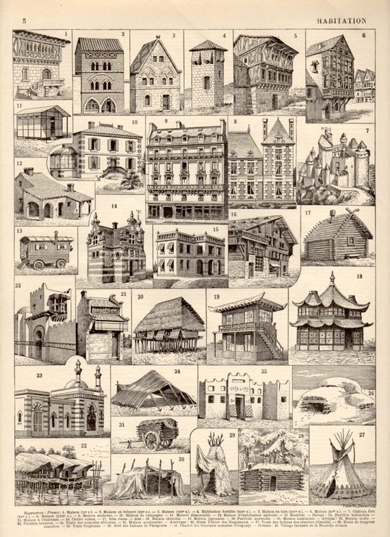 1897 maison architecture lithographie vintage antique. Black Bedroom Furniture Sets. Home Design Ideas