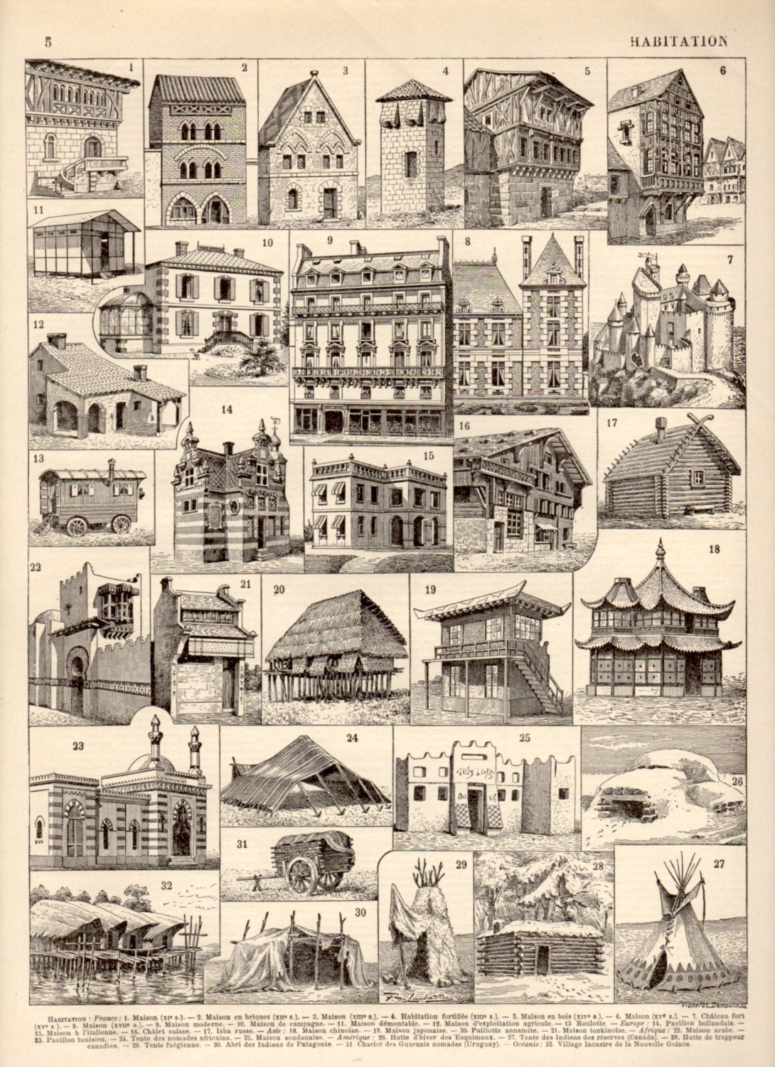 1897 house architecture antique print vintage lithograph for Architecture antique