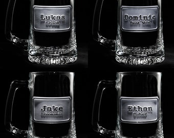 Groomsmen, Best Man Beer Mug Gifts, Personalized Set of 4