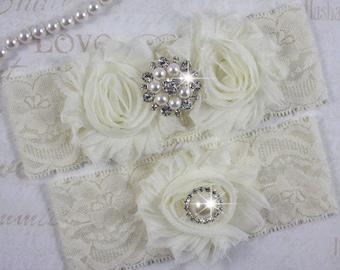 ROSEY - Chiffon Roses Bridal Garter Set, Wedding Stretch Lace Garter, Pearl Rhinestone Bridal Garters