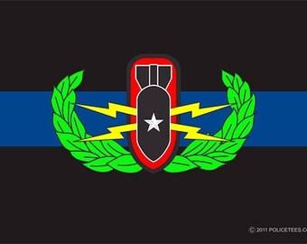 Thin Blue Line Bomb Squad Decal SKU: D1038-0001