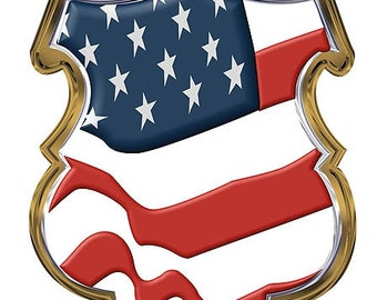 US Flag Police Shield 4 Inch Decal SKU: D1100-D4