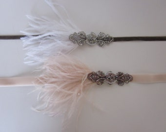 Flapper headband, 1920s headpiece, Great Gatsby headpiece, ostrich feathers, blush feathers white feathers silver headpiece, bronze art deco