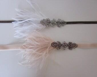 Silver Great Gatsby Headband 1920s Headband Silver beaded Headband White Feather Pearls Silver Gray Beading