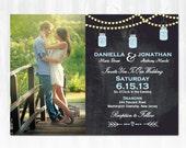 Mason Jar Wedding Invitation DIY PRINTABLE Digital File or Print (extra) Chalkboard Wedding Invitation Photo Wedding Invitation
