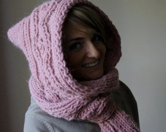Hooded Scarf. Long Scarf. Wool Scarf. Chunky Scarf. Scoodie Scarf. Wool pink Scarf. pink hooded scarf. knit scoodie scarf